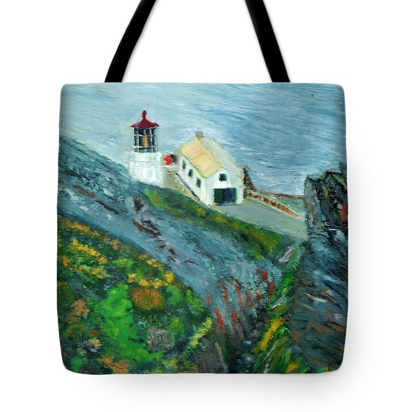 Lighthouse At Point Reyes California Tote Bag