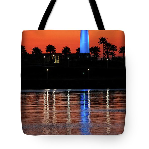 Lighthouse At Queensway Bay Tote Bag by Mariola Bitner