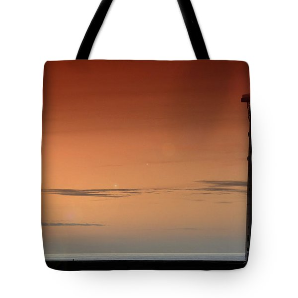 Tote Bag featuring the photograph Lighthouse At Sunrise by Julis Simo