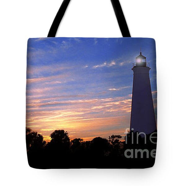 Lighthouse At Sunset Tote Bag