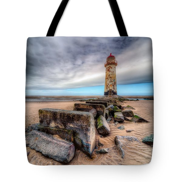 Tote Bag featuring the photograph Lighthouse At Talacre  by Adrian Evans
