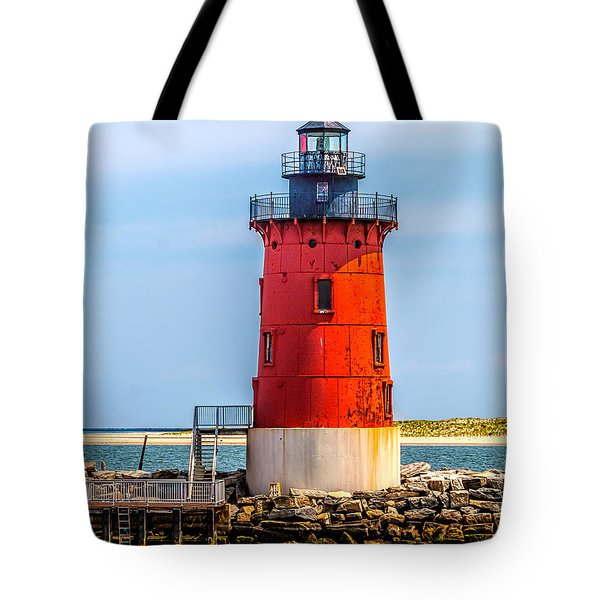Lighthouse At The Delaware Breakwater Tote Bag