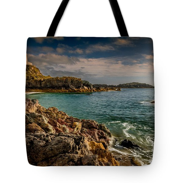 Lighthouse Bay Tote Bag by Adrian Evans