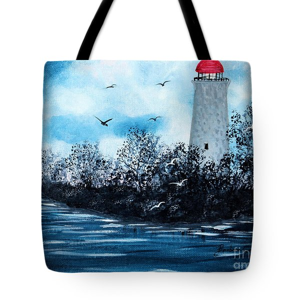 Lighthouse Blues Tote Bag by Barbara Griffin