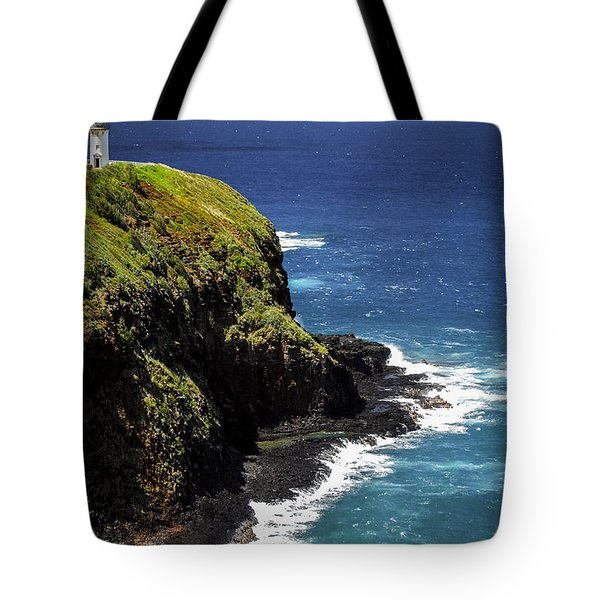 Tote Bag featuring the photograph Lighthouse By The Pacific by Debbie Karnes