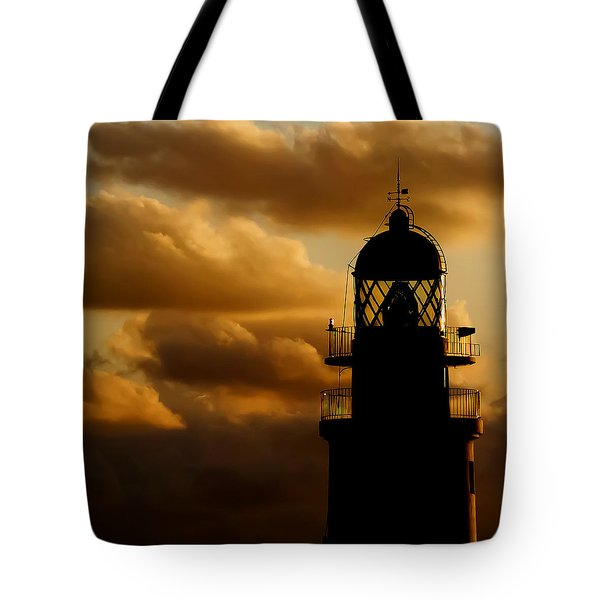 lighthouse dawn in the north coast of Menorca Tote Bag