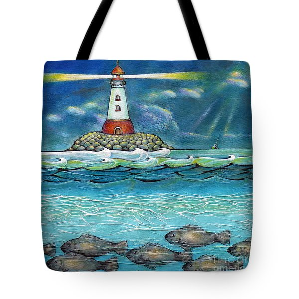 Lighthouse Fish 030414 Tote Bag by Selena Boron