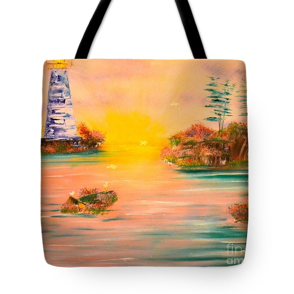Tote Bag featuring the painting Lighthouse For Mom by Denise Tomasura