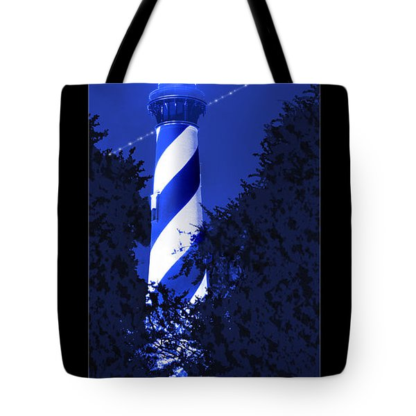 Lighthouse In Blue Tote Bag by Mike McGlothlen