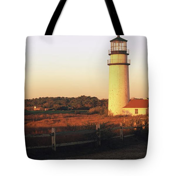 Lighthouse In The Field, Highland Tote Bag