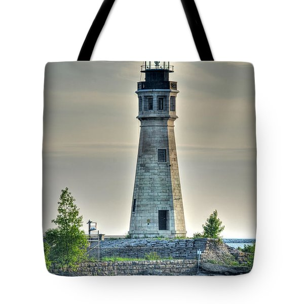 Lighthouse Just Before Sunset At Erie Basin Marina Tote Bag
