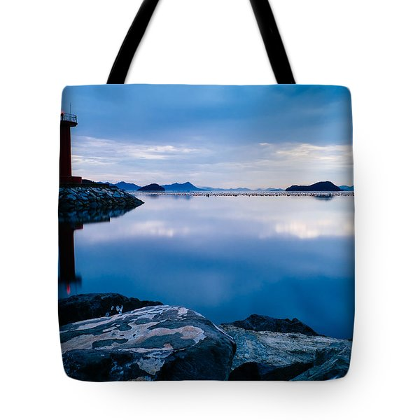 Lighthouse On Blue Tote Bag