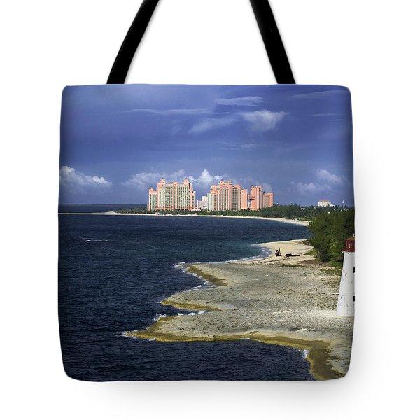 Lighthouse On Colonial Beach With Atlantis Paradise Resort Bahamas Tote Bag