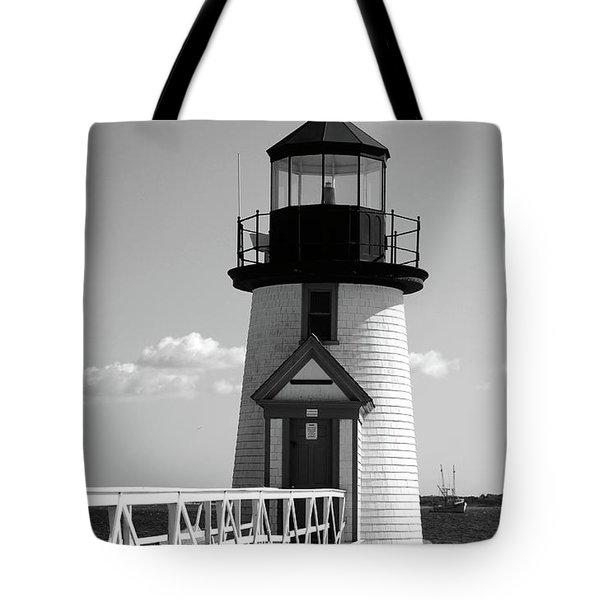 Lighthouse On Nantucket Bw Tote Bag