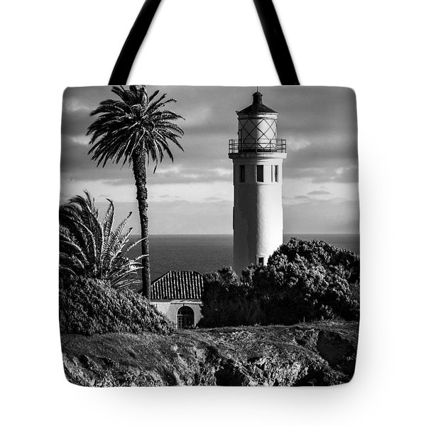 Tote Bag featuring the photograph Lighthouse On The Bluff by Jerry Cowart