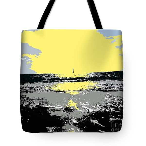 Lighthouse On The Horizon Tote Bag by Patrick J Murphy