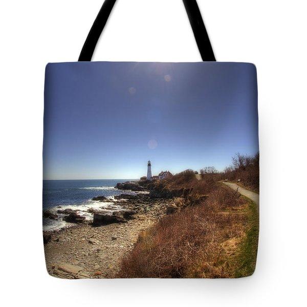 Lighthouse Path Tote Bag by Joann Vitali