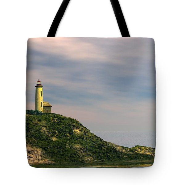 Tote Bag featuring the digital art Lighthouse Point by John Pangia