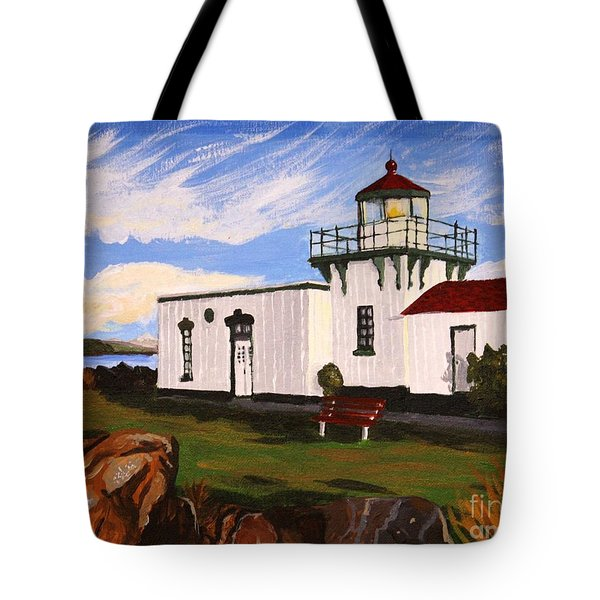 Lighthouse Point No Point Tote Bag by Vicki Maheu