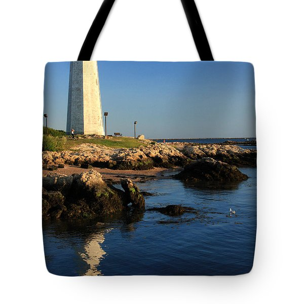 Lighthouse Reflected Tote Bag by Karol Livote