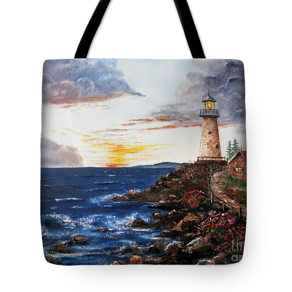 Lighthouse Road At Sunset Tote Bag by Lee Piper
