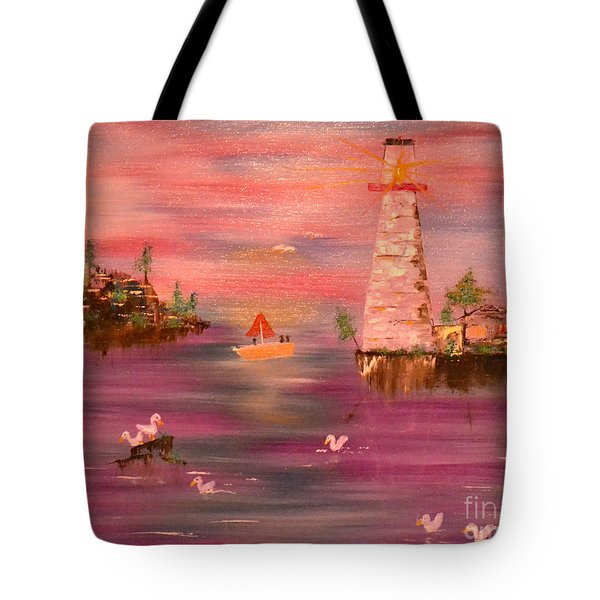 Tote Bag featuring the painting Lighthouse Serenade by Denise Tomasura