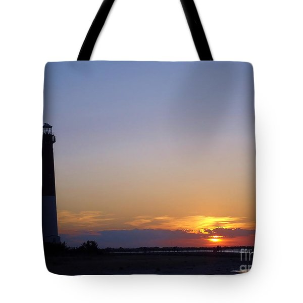 Lighthouse Sunset Tote Bag by Art Dingo