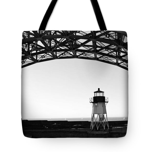 Lighthouse Under Golden Gate Tote Bag by Holly Blunkall