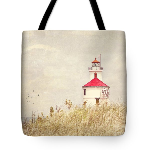 Lighthouse With Red Roof Tote Bag