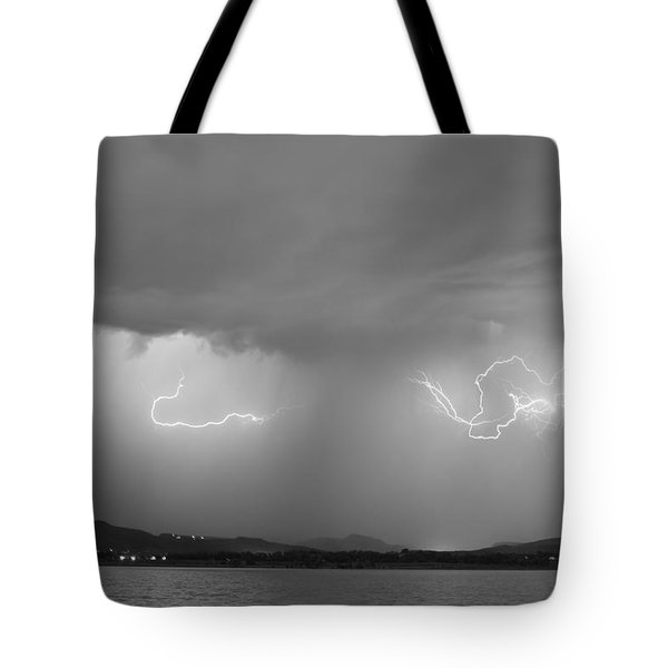 Lightning And Rain Over Rocky Mountain Foothills Bw Tote Bag by James BO  Insogna