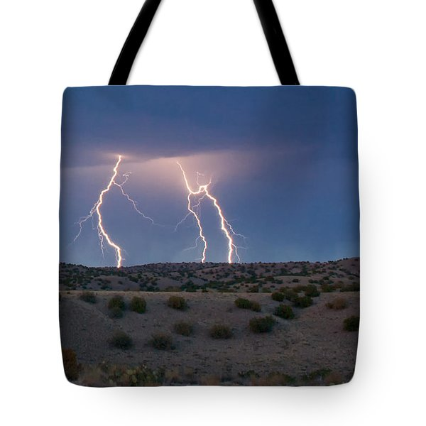 Lightning Dance Over The New Mexico Desert Tote Bag