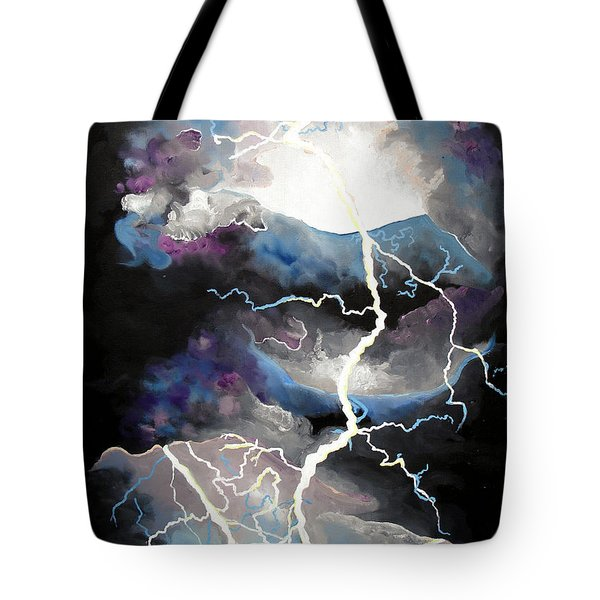 Tote Bag featuring the painting Lightning by Daniel Janda