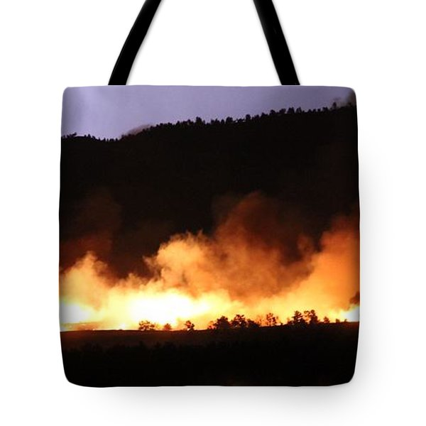 Tote Bag featuring the photograph Lightning During Wildfire by Bill Gabbert