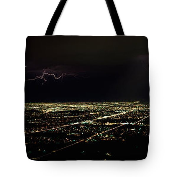 Lightning In The Sky Over A City Tote Bag