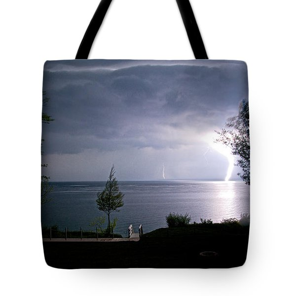 Lightning On Lake Michigan At Night Tote Bag by Mary Lee Dereske
