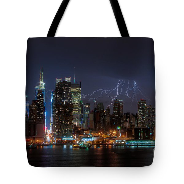 Lightning Over New York City IIi Tote Bag by Clarence Holmes