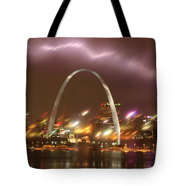 Lightning Over The Arch Tote Bag