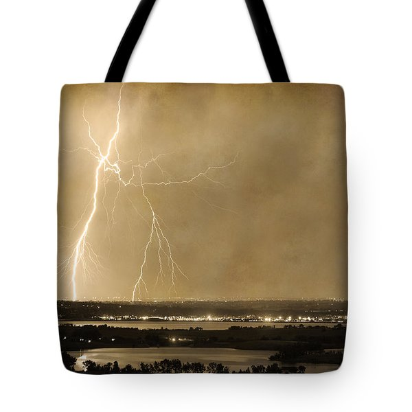 Lightning Strike Boulder Reservoir And Coot Lake Sepia 2 Tote Bag by James BO  Insogna