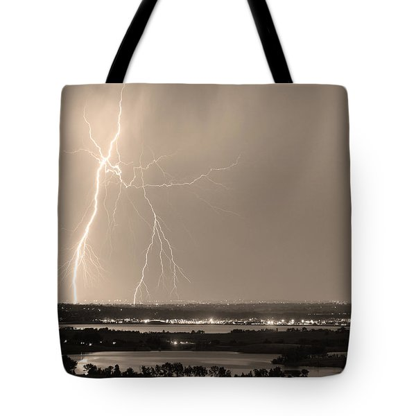 Lightning Strike Boulder Reservoir And Coot Lake Sepia Tote Bag by James BO  Insogna