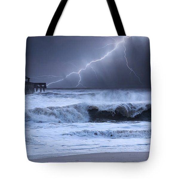 Tote Bag featuring the photograph Lightning Strike by Laura Fasulo