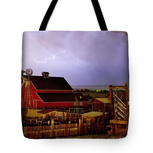 Lightning Strikes Over The Farm Tote Bag by James BO  Insogna