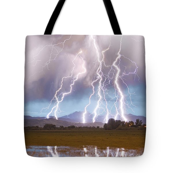 Lightning Striking Longs Peak Foothills 4c Tote Bag