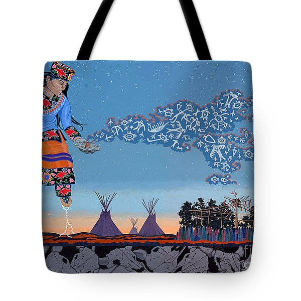 Tote Bag featuring the painting Lightning Walker by Chholing Taha