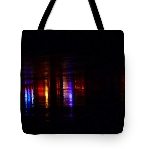 Lights On The River Reflection Tote Bag by Susan Garren