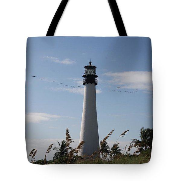 Ligthouse - Key Biscayne Tote Bag by Christiane Schulze Art And Photography