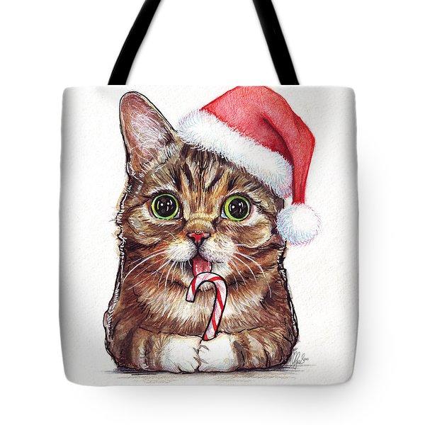 Cat Santa Christmas Animal Tote Bag