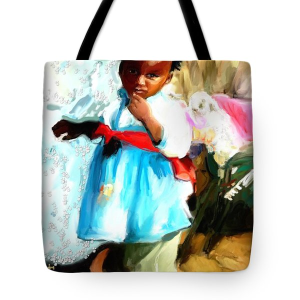 Tote Bag featuring the painting Lil Girl  by Vannetta Ferguson
