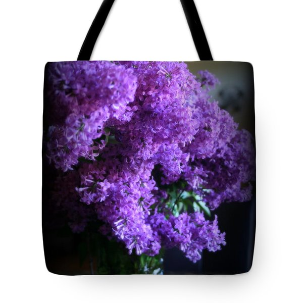 Lilac Bouquet Tote Bag by Kay Novy