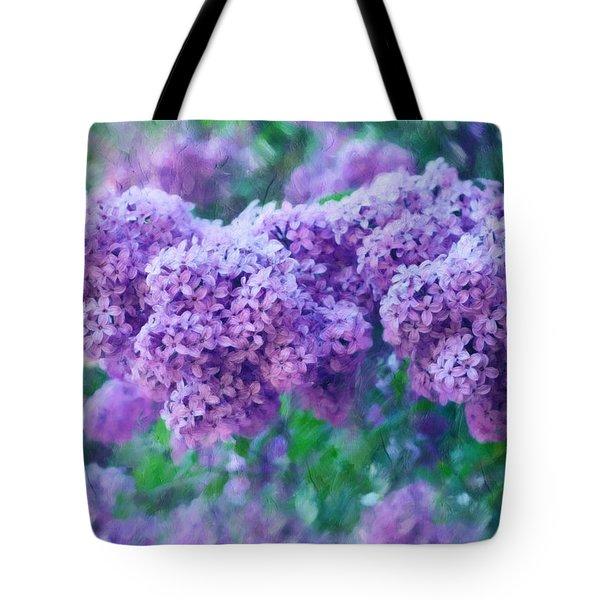 Tote Bag featuring the mixed media Lilac Cadenza by Isabella Howard