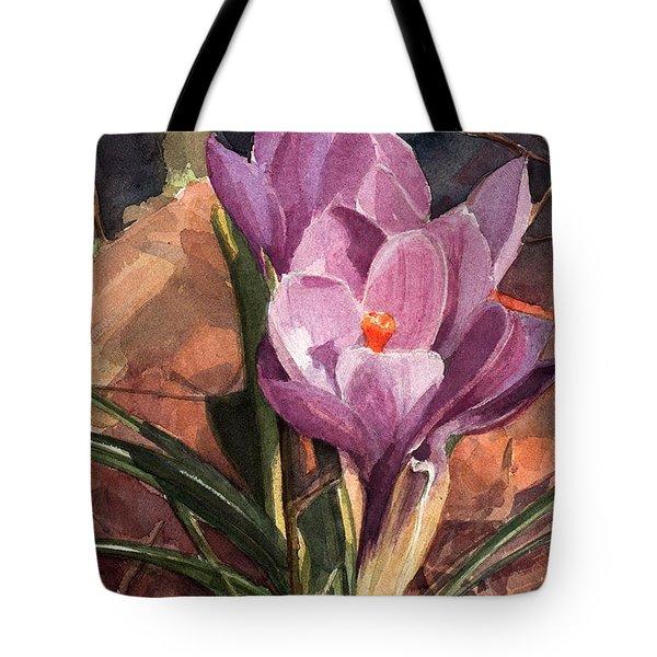 Lilac Crocuses Tote Bag
